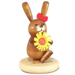 Osterhäsin mit Blume auf Sockel Höhe ca 5cm NEU