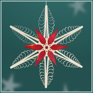 Fensterschmuck Spanstern el. Beleuchtet Mitte mit 2 Sterne Rot (beidseitig) BxHxT=40x40x5cm NEU