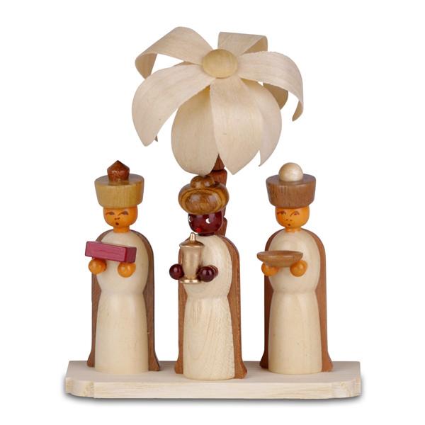 Miniaturfigur Heilige drei Könige auf Sockel mit Palme, natur Höhe 10,5cm NEU