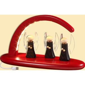 Weihnachtsbeleuchtung Schwibbogen mit Engeln LED rot HxBxT = 13x24x10cm NEU