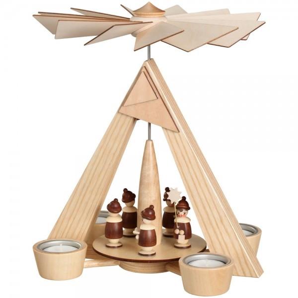 Teelichtpyramide Kurrende natur BxHxT 24,5x29x24,5cm NEU