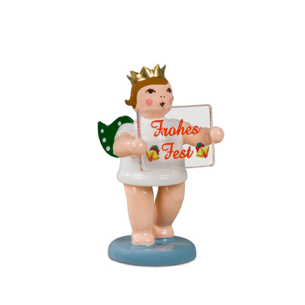 Adventengel mit Weihnachtsschild mit Krone Höhe ca 6,5 cm NEU