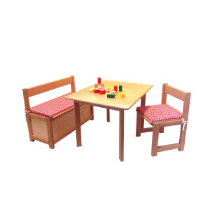 Holzmöbel Sitzgarnitur Maße:Stuhl: T/B/H 33,5cm/35cm/60cmBank: T/B/H 33,5cm/70cm/60cmTisch: T/B/H 58,0cm/74cm/55cm NEU