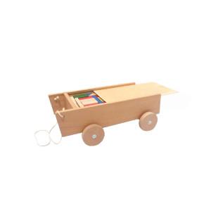 Holspielzeug Wagen zum ziehen mit Bausteinen Maße: L/B/H 40cm/ 25cm/ 14cm NEU