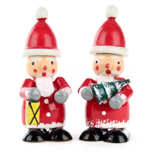 Miniatur Weihnachtsmänner mit Baum und Laterne, farbig (2) H=5,5cm NEU