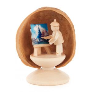 Miniatur Walnussschale Maler BxHxT = 3,5x4,5x2,5cm NEU