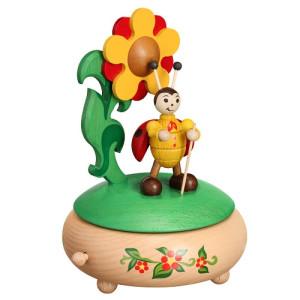 Spieldose Marienkäfer mit Blume HxLxB 19,5x13x13cm NEU