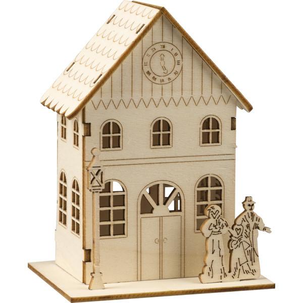 """DIY-Bastelset aus Holz """"Stadthaus"""" für ein Teelicht 9,5x7x12cm NEU"""