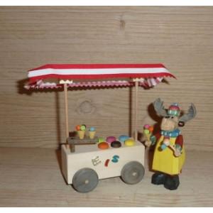 Elch Eisverkäufer mit Eiswagen Höhe ca 13cm NEU