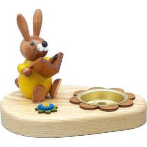 Teelichthalter Hase gelb mit Buch Höhe 10 cm NEU