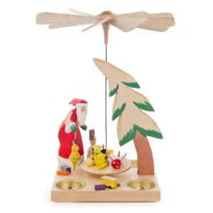 Pyramide mit Weihnachtsmann und tanzender Puppe, für Teelichte BxHxT 160x270x160mm NEU