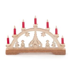 Mini-Schwibbogen Kirche, rote Kerzen BxHxT 70x45x10mm NEU