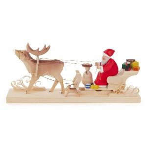 Weihnachtsmann auf Hirschschlitten geschnitzt BxHxT 260x110x60mm NEU