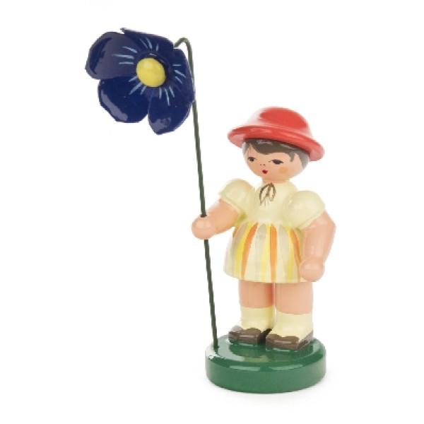Ostern & Frühjahr Blumenmädchen hellgelb/orange gestreift, Blume blau BxHxT 25x90x25mm NEU