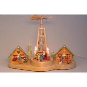 Holzpyramide Weihnachtsmarkt mit Pyramide Höhe 28cm NEU