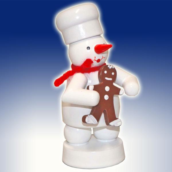 Miniaturfigur Bäcker Schneemann mit Pfefferkuchen-Mann Höhe 8cm NEU