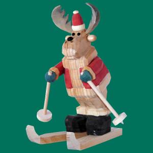 Elch Weihnachtsmann Ski Auslaufmodell Höhe ca 22cm NEU