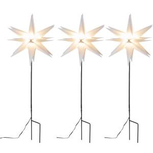 3-er Kunststoff-Stern mit Bodenspieß für außen inkl. LED-Elektrik mit 6-Stunden-Timer, weiß, IP44 Trafo, Kabellänge ca. 7m (Leuchtmittel nicht auswechselbar) Ø ca. 35 cm NEU