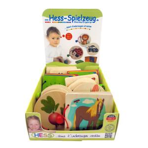 Babyspielzeug Display mit 12 Holzbilderbücher BxLxH 110x15x95mm NEU