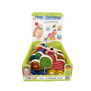 Babyspielzeug Display mit 7 Holztieren auf Rädern BxLxH 100x50x90mm NEU