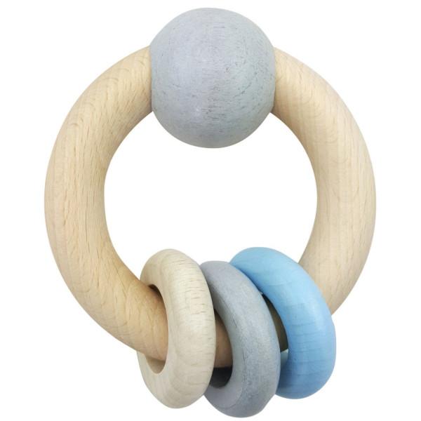 Babyspielzeug Rundrassel Kugel und 3 Ringen blau BxLxH 85x40x110mm NEU