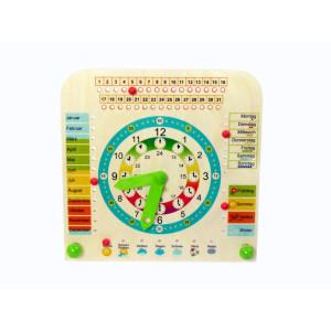 Holzdekoration Lernuhr mit Kalender und Jahreszeiten BxLxH 250x105x245mm NEU