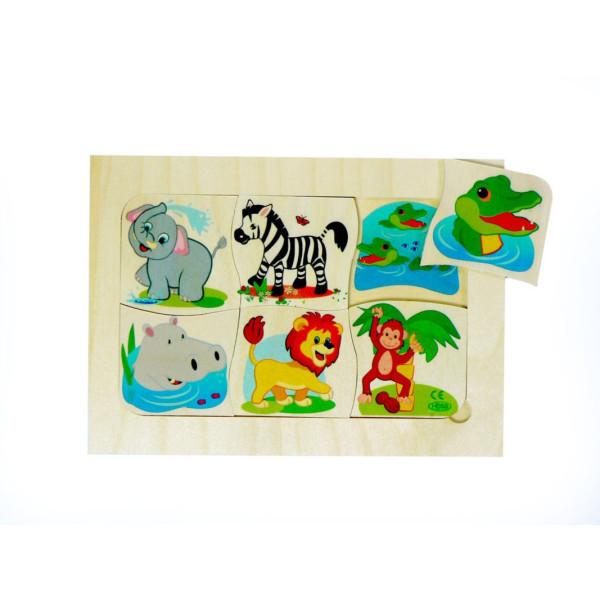 """Holzspielzeug Tierpuzzle Dschungel """"Wer ist Mama?"""" BxLxH 205x5x145mm NEU"""