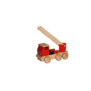 Holzspielzeug Feuerwehr mit Leiter bunt Länge ca. 10 cm NEU