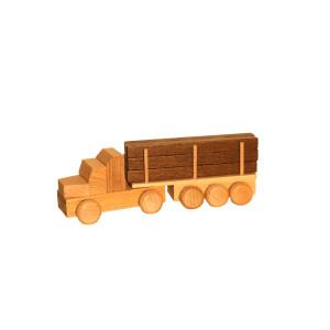 Holzspielzeug Sattelzug mit Langholz natur Länge ca. 15 cm NEU