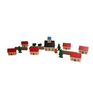 Holzspielzeug Spielzeugdorf mit Kirche im Beutel NEU