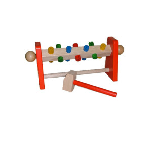Holzspielzeug Klopfwelle mit Hammer BxHxT 32x9x14cm NEU