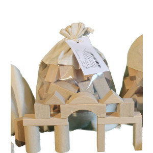 Holzspielzeug Baubeutel mit Holzbausteinen natur NEU