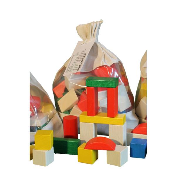 Holzspielzeug Baubeutel mit Holzbausteinen farbig NEU