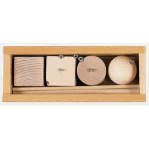 Holzspielzeug Gabe 2 Fröbelspiel Holzteile (40mm)zum hängen LxBxH 195x80x60mm NEU