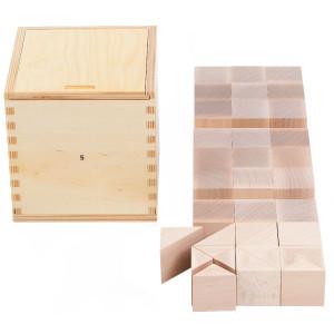 Holzspielzeug Fröbelgaben 5 für Kinderkrippe LxBxH 180x180x183mm NEU