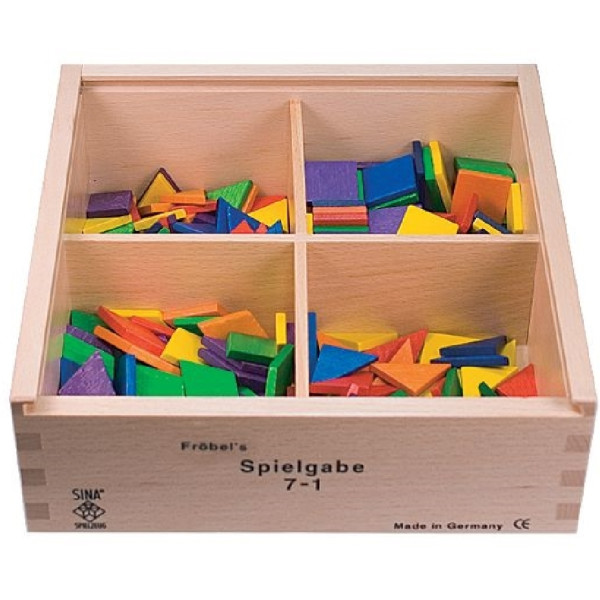 Holzspielzeug Fröbel Gabe 7-1 Quadrate & Dreiecke 25mm LxBxH 220x220x75mm NEU