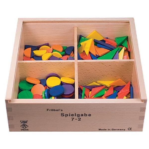 Holzspielzeug Fröbel Gabe 7-2 Kreise & Dreiecke 25mm LxBxH 220x220x75mm NEU