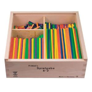 Holzspielzeug Fröbel Gabe 8-3 Stäbchen 150mm LxBxH 220x220x75mm NEU