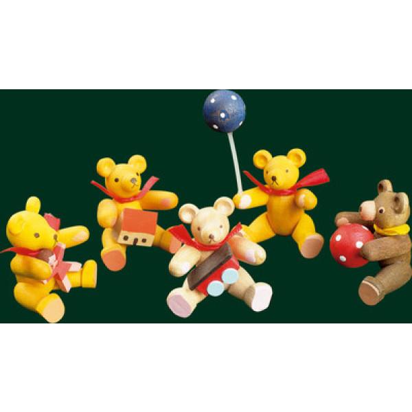 Bär Spielbär mit Puppe Erzgebirge Handarbeit Weihnachtsfigur NEU Volkskunst41401
