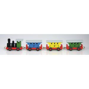 Holzeisenbahn Personenzug 26 cm Lokomotive Bahn Holz Zug Lok Miniatur NEU 35/7