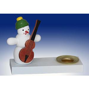 Kerzenhalter Schneemann m. Bass Weihnachten Deko Volkskunst Seiffen 196/1-1 NEU