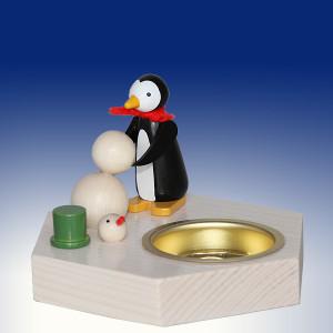 Weihnachtsdekoration Teelichthalter Pinguin beim Schneemann bauen bunt BxHxT 6,5x6,5x6,5cm NEU