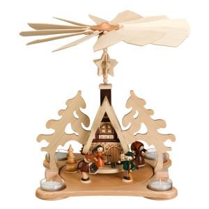 Tischpyramide mit Waldfiguren bunt und Teelicht HxLxB 32x25x27cm NEU