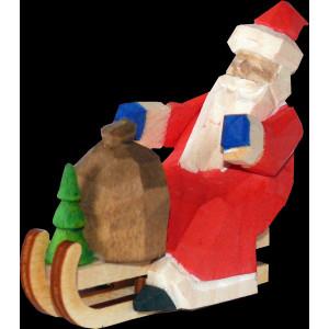 Weihnachtsmann Rodler Baumbehang mini geschnitzt bunt 6cm