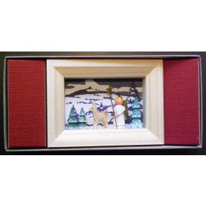 Weihnachtsdekoration Miniaturrahmen mit Engel und Rehe BxH 5,5x7 cm NEU