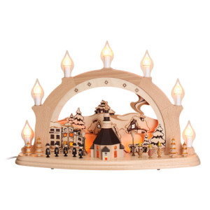 Schwibbogen elektrisch 7 Kerzen Seiffner Kirche mit Innenbeleuchtung 1216 NEU