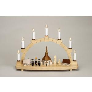 Schwibbogen Kurrende mit Seiffener Kirche Baum elektrisch HxLxB 29x40x11cm NEU