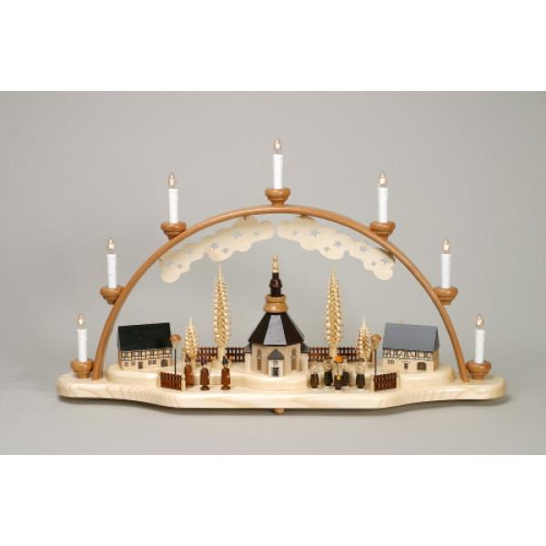 Schwibbogen Kurrende mit Seiffener Kirche und Laternenkinder elektrisch HxLxB 40x70x12cm NEU