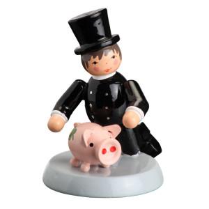 Tischdekoration Glücksbringer Essenkehrer mit Schwein H= 6cm NEU