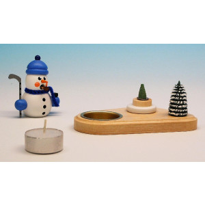 Kerzenhalter Schneemann Hockeyspieler Weiß 14 cm NEU